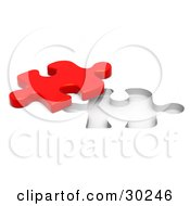 Clipart Illustration Of A Lone Red Jigsaw Puzzle Piece Beside A Fitted Space