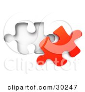 Clipart Illustration Of A Lone Red Puzzle Piece Beside A Fitted Space by Tonis Pan