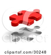 Clipart Illustration Of A Single Red Puzzle Piece Floating Above A Fitted Space