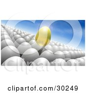 Floating Golden Egg Above A Crowd Of White Eggs Against A Blue Sky