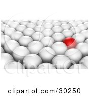 Clipart Illustration Of A Prominent Red Ball In Rows Of White Balls by Tonis Pan