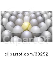 Clipart Illustration Of A Bright Shining Golden Egg Standing Out In A Crowd Of Rows Of White Eggs