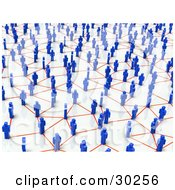 Clipart Illustration Of A Busy Network Of Blue People Connecting With Orange Lines