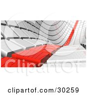 Clipart Illustration Of A Row Of Red Tiles Leading Off Into The Distance Beside White Rows #30259 by Tonis Pan