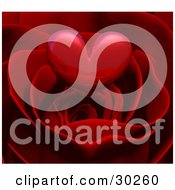 Clipart Illustration Of A Reflective Red Heart Hovering Over A Beautiful Red Rose