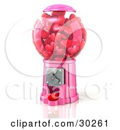Clipart Illustration Of A Pink Bubble Gum Machine Dispensing Little Red Hearts Symbolizing Renewing Passion In A Relationship by Tonis Pan