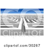 Clipart Illustration Of A White Maze Of Paths Never Ending And Leading Off Into The Distance Under A Blue Sky #30267 by Tonis Pan