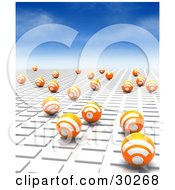 Clipart Illustration Of A Blue Sky Above Orange Blogging RSS Spheres On A White Tile Textured Surface Leading Off Into The Distance