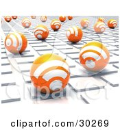 Clipart Illustration Of Orange Blogging RSS Spheres On A White Tile Textured Surface by Tonis Pan