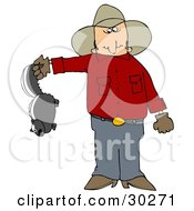 Clipart Illustration Of A Frustrated Cowboy Holding A Skunk Thats Been Torturing His Farm With Stinky Spray