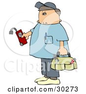 Clipart Illustration Of A Service Technician From A Gas Company Holding A Leak Detector Wearing Shoe Covers And Carrying A Bag Of Hand Tools