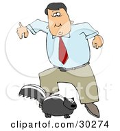 Clipart Illustration Of A Man Leaping Back From A Skunk That Is Preparing To Spray