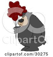 Clipart Illustration Of A Big Bear Standing And Holding A Bunch Of Red Heart Shaped Valentines Day Balloons by djart