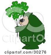 Clipart Illustration Of A Big Green Bear Standing And Holding A Bunch Of Green Clover Saint Patricks Day Balloons by djart