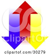 Clipart Illustration Of A Red Arrow Moving Upwards Between Blue And Yellow Arrows by Dennis Cox