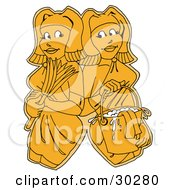 Clipart Illustration Of Two Yellow Women Maids Or Janitors Wearing Gloves And Carrying A Feather Duster And Mop Bucket Standing Shoulder To Shoulder