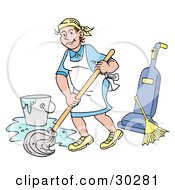 Clipart Illustration Of A Pleasant Caucasian Housewife Maid House Keeper Custodian Or Janitor Woman Mopping A Floor Near A Broom And Vacuum by LaffToon