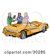 Clipart Illustration Of A Car Salesman Giving A Customer The Keys To An Orange Classic Convertible Car