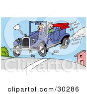 Clipart Illustration Of A Happy Man And Woman Catching Air In Their Convertible Antique Car Pieces Of It Falling Off by LaffToon