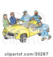 Clipart Illustration Of A Group Of Friendly Mechanics Finishing Up Work On A Yellow Classic Convertible Car Owned By A Couple