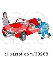 Clipart Illustration Of A Pleasant Auto Mechanic Man Smiling While Shining A Classic Red Convertible Car For A Lady by LaffToon #COLLC30288-0065
