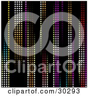 Clipart Illustration Of A Background Of Rainbow Colored Led Lights In Vertical Rows Over Black by elaineitalia