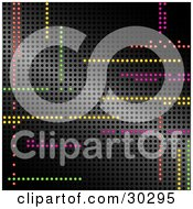 Clipart Illustration Of A Background Of Colorful Led Lights Illuminated In Random Horizontal And Vertical Lines In A Grid