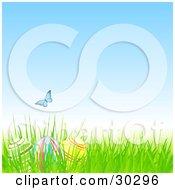 Blue Butterfly Over Three Easter Eggs Hidden In Grass Under A Blue Spring Sky
