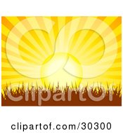 Clipart Illustration Of A Bright Orange And Yellow Bursting Sun Setting Over Silhouetted Grass by elaineitalia