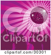 Clipart Illustration Of A Group Of Silhouetted People Waving Their Hands In The Air And Dancing Under A Purple Disco Ball At A Party by elaineitalia