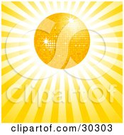 Clipart Illustration Of A Bright Yellow Disco Sun In A Bursting Sky Of Rays Of Light