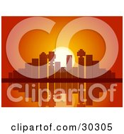 Clipart Illustration Of A Red And Orange Sunset And Mosaic Patterned City Skyscraper Skyline Reflecting On Still Waters by elaineitalia