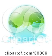 Clipart Illustration Of Clear Clean Water Splashing Around A Green Globe With Water Drops Scattered Around