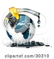 Yellow Gasoline Nozzle Dripping Black Oil Around A Globe