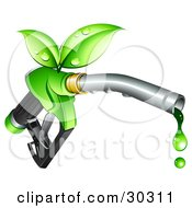 Clipart Illustration Of Green Leaves Sprouting From A Fuel Nozzle Dripping With Bio Fuel