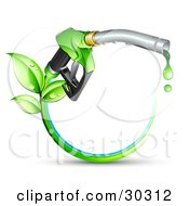 Green Biofuel Dripping From A Gasoline Nozzle With Leaves Sprouting From A Circle Of Blue And Green