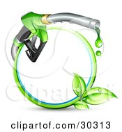 Blue And Green Circle With Sprouting Leaves And A Gasoline Nozzle Dripping Green Fuel