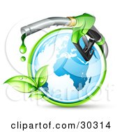 Clipart Illustration Of A Blue Globe Circled By A Green Vine With A Large Nozzle Dripping Green Bio Fuel