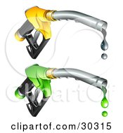 Two Yellow And Green Gasoline Nozzles With Black And Green Fuel Dripping From The Tips
