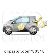 Clipart Illustration Of A Gray Compact Electric Car With The Power Plug Haning Out
