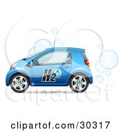 Clipart Illustration Of A Blue Compact Water Powered Car Blowing Bubbles Out Of The Exhaust