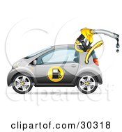 Clipart Illustration Of A Gray Compact Gasoline Powered Car With A Dripping Fuel Nozzle Coming Out Of The Fuel Compartment