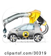 Clipart Illustration Of A Large Dripping Fuel Nozzle Over A Gray Compact Gasoline Powered Car by beboy