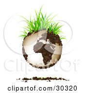 Clipart Illustration Of Green Grasses Sprouting From Soil Continents On Planet Earth With A Dirt Shadow