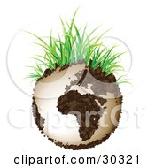 Clipart Illustration Of A Globe Made Of Organic Soil With Green Grass Blades Sprouting From The Top