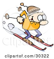 Clipart Illustration Of A Happy Caucasian Guy Skiing Fast Downhill On Skis Holding Poles Behind Him His Cap Flying Off His Head by gnurf #COLLC30322-0050