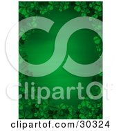 Clipart Illustration Of A Gradient Green St Patricks Day Stationery Background Bordered By Green 3d Clover Leaves by suzib_100