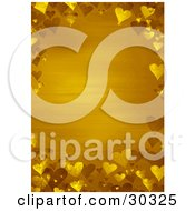 Yellow Valentines Day Stationery Background Bordered By Golden 3d Hearts
