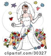 Clipart Illustration Of A Beautiful Caucasian Bride In A White Gown And Gloves Wearing A Veil And Garland Surrounded By Flowers