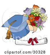 Clipart Illustration Of A Blue Graduation Cap With A Yellow Tassel Resting By A Floral Bouquet And Diploma